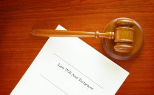 Probate- last will and testament and a court gavel